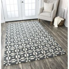 Rizzy Home Opus Collection Wool Hand-Tufted Area Rug, Gray White Grey Rugs, Beige Area Rugs, Wool Area Rugs, Wool Rug, Dark Grey Background, Natural Area Rugs, Graphic Patterns, Tile Patterns, Geometric Graphic