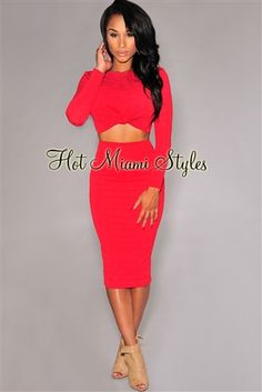 Red Embossed Knotted Front Two Piece Set Womens clothing clothes hot miami styles hotmiamistyles hotmiamistyles.com sexy club wear evening  clubwear cocktail party kim kardashian dresses