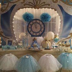 Cinderella Princess Birthday Party, clock and tutu, glass slipper