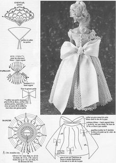 Barbie dress and bow . Diy Doll Clothes Patterns, Crochet Barbie Clothes, Doll Sewing Patterns, Barbie Patterns, Crochet Patterns, Barbie Gowns, Barbie Dress, Habit Barbie, Barbie Collector