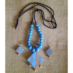 Handmade and Handpainted Terracotta Jewellery - Blue Diamond Necklace Set - FashionHaat
