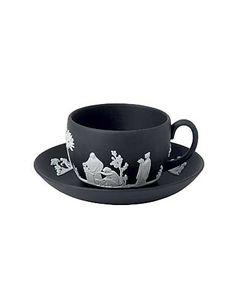 Wedgwood China Jasperware Teacup and Saucer Black