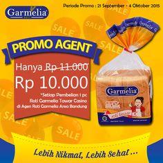 Lebih HEMAT, beli Roti Garmelia Tawar Casino di Agen Roti Garmelia dapat potongan harga Rp 1.000 (khusus wilayah Bandung).