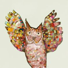 Owl Hooray - Canvas wall art by artist Eli Halpin featuring a colorful owl with his wings spread wide available at Oopsy Daisy, Fine Art for Kids.