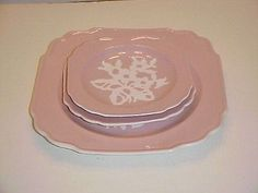 Harker Pottery Pink Dainty Flower Misc. Plate Set