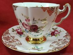 TG2 ADDERLEY PINK AND GOLD CHINTZ TEA CUP AND SAUCER