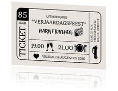 Verjaardagsuitnodiging 85 jaar als ticket