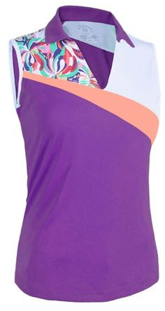 Monterey Club Ladies/+Size Water Fountain Contrast Golf Shirt available at #lorisgolfshoppe
