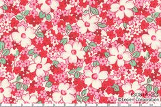 HALF YARD -Pink Floral 30814-20 - Retro 30s Child Smile Collection Lecien - Daisies, Cherry Blossom, Pink, Red, White, Green - Japanese