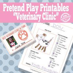 Printables / Veterinary office pretend play kid activities, kid printables