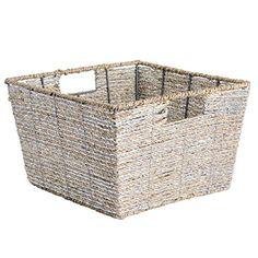 High Quality DII Decorative Metallic Woven Seagrass Bin (Small 12x12x7.