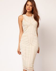 ASOS Midi Dress With Beading And Applique    Cream for Rehearsal dinner. Ill take it.