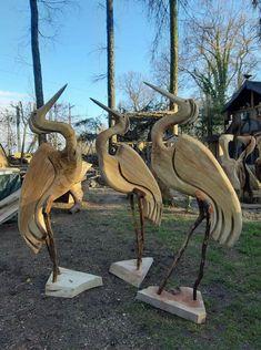 Bird Sculpture, Garden Sculpture, Wood Bird, Wood Carving Art, Chainsaw, Rustic Furniture, Driftwood, Metal Art, Woodworking