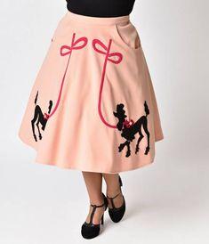 Unique Vintage Plus Size 1950s Peach Pink Soda Shop Poodle Swing Skirt