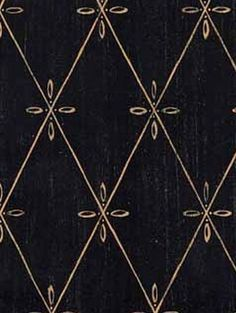 WALLPAPER BY THE YARD Distressed Tuscan Diamond Lattice on Black Country French