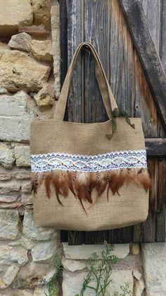 Grand sac à main cabas en toile de jute