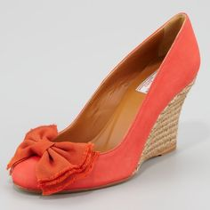 Lanvin espadrille wedges Authentic NWOT Lanvin espadrille wedge pumps in warm coral color. Bow detail at toe. Minor scuffs on shoes as seen in photos - not noticeable when worn. Marked size 42 but runs slightly small - best for sizes 11-11.5. Brand new without box. No trades. No PayPal. Lanvin Shoes Espadrilles