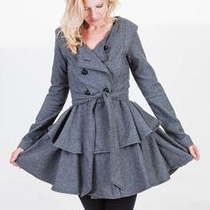 Gray Double Breasted Wool Ruffle Coat or Peplum by BritishSteele