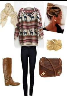 i would so wear this but with uggs or these riding boots and with out the scarf