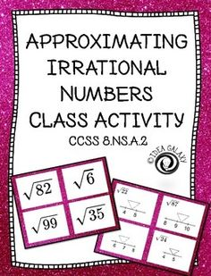 Approximating Irrational Numbers Task Cards- replace worksheets with task cards… Math Teacher, Teaching Math, Maths, Math Resources, Math Activities, Real Number System, Math Lab, Irrational Numbers, Math Tools