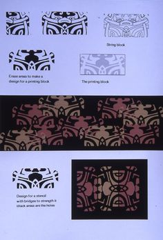 This early example of computer design by Val Campbell-Harding shows how a mono print could be used to make stencils and printing blocks. Textile Design, Textile Art, Mono Print, Used Computers, Fabric Printing, Crafty Projects, Surface Design, Adobe Illustrator, Ph