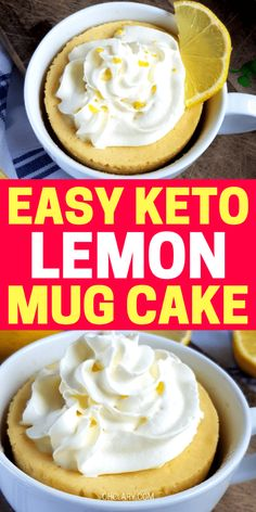 Easy sugar free lemon mug cake that will satisfy your sweet cravings in minutes! Try this healthy lemon mug cake with blueberries for a delicious keto lemon blueberry mug cake ready in just 90 seconds! Keto Desserts, Keto Friendly Desserts, Dessert Recipes, Dessert Ideas, Cake Mug, Lemon Mug Cake, 100 Calories, Mug Recipes, Low Carb Recipes