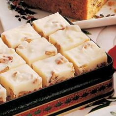 White Pecan Fudge ~ Ingredients ~ 1 tablespoon plus cup butter, divided cups miniature marshmallows cups sugar 1 cup heavy whipping cream 16 ounces white baking chocolate, finely chopped 2 teaspoons vanilla extract 2 cups chopped pecans Fudge Recipes, Candy Recipes, Sweet Recipes, Dessert Recipes, Recipes Dinner, Dinner Ideas, Healthy Recipes, Pecan Recipes, Just Desserts