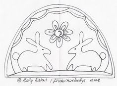 Easter and Bunny Stitchery and Doodle Pattern By Betty Dekat of primitivebettys