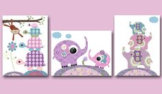 Digital Nursery Art Nursery Digital Print Printable Nursery Art Instant Download Art Kid Art Baby Girl Nursery Art Decor set of 3 8x10 11X14 by nataeradownload on Etsy