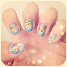 Inspired by Impressionism paintings. ^_^ fyi, I've been playing around with dried flower nail art for a few months, there's an old photo somewhere on my Instagram :) - @michellefawn   Webstagram