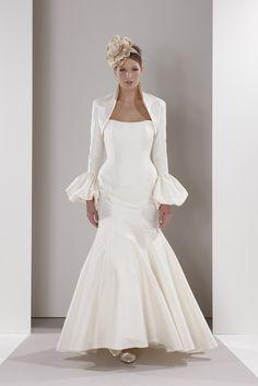 Classic Sassi Holford wedding gown with dramatic cuffed sleeve jacket Wedding Dress Styles, Wedding Gowns, Wedding Bolero, Bolero Jacket, One Shoulder Wedding Dress, Marie, Wedding Planning, White Dress, Formal Dresses