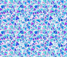 Cool purple and aqua triangle mosaic fabric by elephant_trunk_studio on Spoonflower - custom fabric
