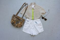 OUTFIT! A redesigned linen shirt and white cut-offs by Community Service, vintage shades, a tapestry bag and a necklace by Cinnabar Lounge.