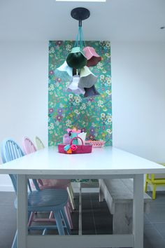 Our kitchen- Zjojes Rice.dk wallpaper, lamp from Zuiver