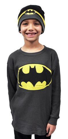 3903faeb7d8 Batman Boys Long Sleeve Shirt with Beanie Set (2-PACK) Long Sleeve Shirts
