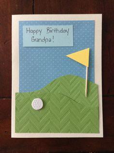 Homemade golf themed card, birthday, grandpa Homemade Birthday Cards, Birthday Diy, Card Birthday, Birthday Ideas, Happy Birthday Grandpa, Birthday Card Design, Happy Birthday Messages, Diy Cards, Handmade Cards
