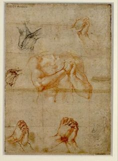 Michelangelo, Männlicher Oberkörper mit gefalteten Händen sowie Handstudien, 1510-11 © Albertina, Wien  #Michelangelo #Renaissance #Drawing #GraphicArt #GraphicCollection #Masterpiece