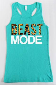 BEAST MODE Leopard on Teal Workout Tank Top by NobullWomanApparel, $24.99