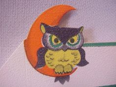 Vintage Halloween Ephemera ~ Hoot Owl Party Place Cards by Giboson * Circa, 1940's