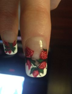 Roses French manicure. Hand painted nail art inspired by robin moses