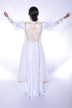 The Bride Cascade Tunic (White-Gold) 3 Praise Dance Wear, Worship Dance, Dark Fantasy Art, Royal Ballet, Dance Outfits, Dance Dresses, Alvin Ailey, Body Painting, Costume