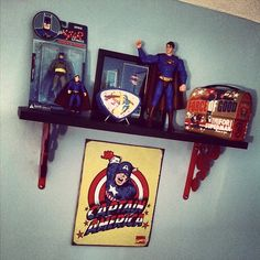 The Shelf of Superheroes in my sons room!