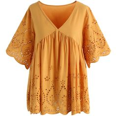 Chicwish Eyelet Passion Embroidered Dolly Top in Mustard ($40) ❤ liked on Polyvore featuring tops, yellow, yellow top, embroidery top, eyelet top, embroidered top and grommet top
