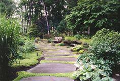 Natural Garden Pathway & Natural Landscaping in Bergen County, NJ Landscape Photos, Landscape Design, Garden Design, Garden Paving, Garden Paths, Stepping Stone Pathway, Natural Landscaping, Natural Garden, Unique Gardens