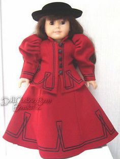 "Victorian Era Red 2 Piece Suit made for 18"" American Girl Doll Clothes"
