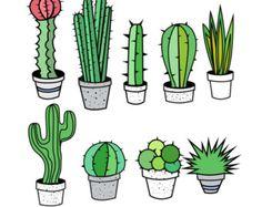 Cactus Clipart Cactus Clip Art Tribal Clipart Tribal by PinkPueblo