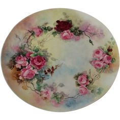 Truly Magnificent LARGE Antique Limoges France Charger Tray ~ Breathtaking Hand Painted Roses ~ Masterpiece Watercolor Type of Painting ~ Superb Artistry Jean Pouyat JPL Circa 1890 – 1932 Vintage Plates, Vintage Tea, Delft, Porcelain Ceramics, Painted Porcelain, Painted Roses, Limoges China, Hand Painted Plates, Antique Glassware