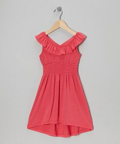 http://www.zulily.com/invite/vhanson979Take a look at this Coral Ruffle Dress - Girls by Zunie & Pinky on #zulily today!