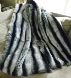 Real Genuine REX Rabbit Dyed Gray Chinchilla FUR Throw NEW Made IN USA Grey | eBay