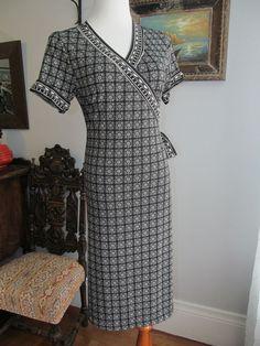 MAX STUDIO Black Beige Geometric Print Polyester Blend Wrap Dress Size XL #MaxStudio #WrapDress #WeartoWork